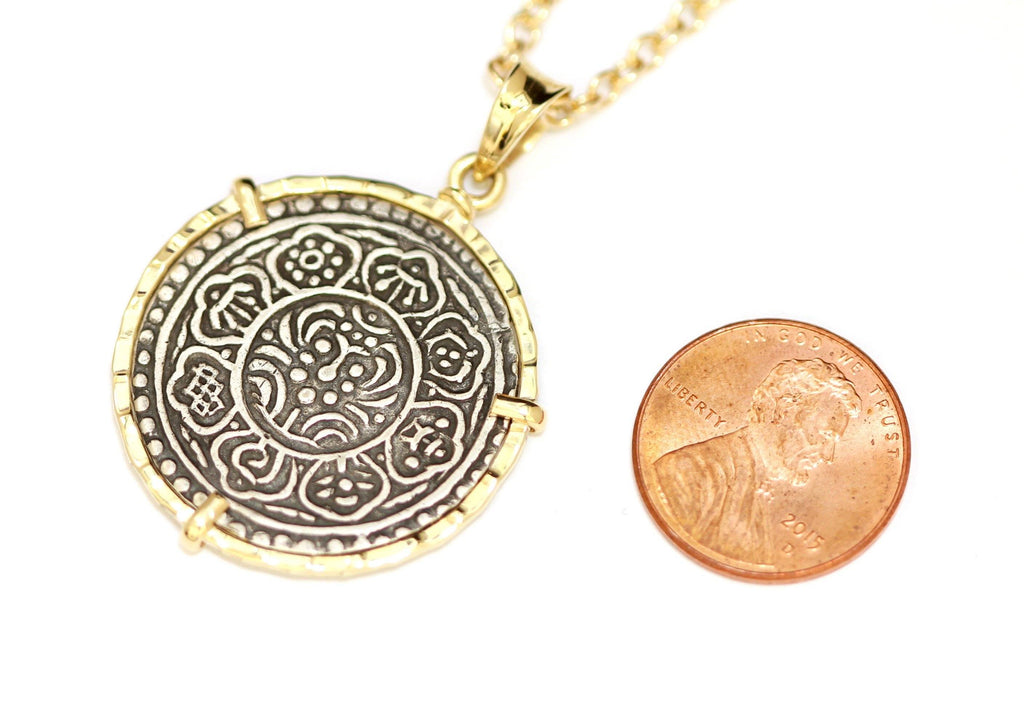 14K Gold Pendant, Mantra Necklace, Meditation Talisman, Tibet Tangka, with Certificate - Erez Ancient Coin Jewelry