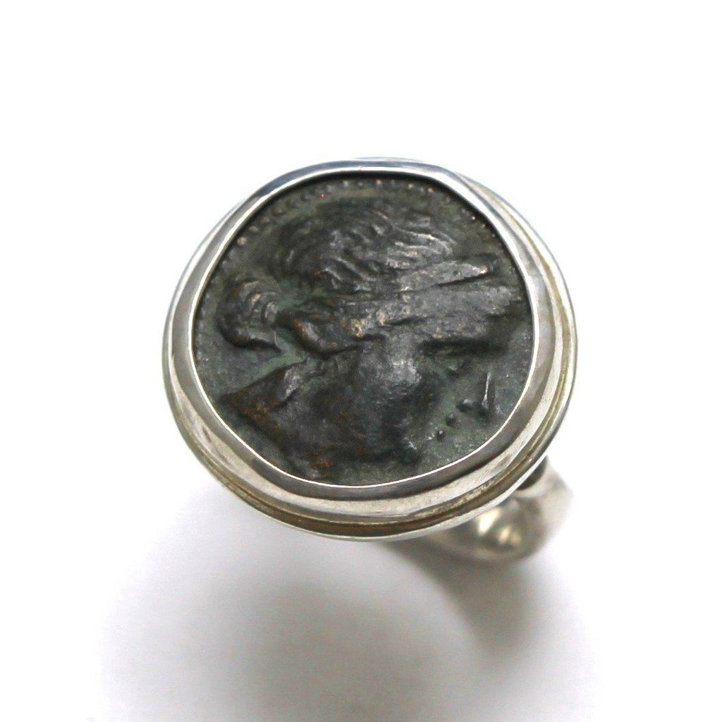Mesembria Greek Coin, Sterling Silver Ring, Genuine Ancient Coin with Certificate - Erez Ancient Coin Jewelry, ancient coin jewelry, men jewelry, genuine ancient coins, made in the US