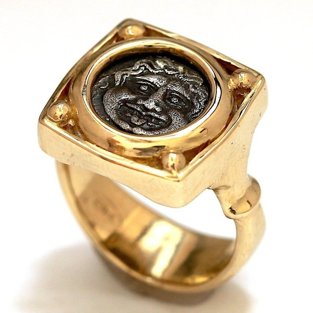 Parion, Greek Coin, Medusa Gorgon, 14K Gold Ring, Genuine Ancient Coin with Certificate ID13118 - Erez Ancient Coin Jewelry