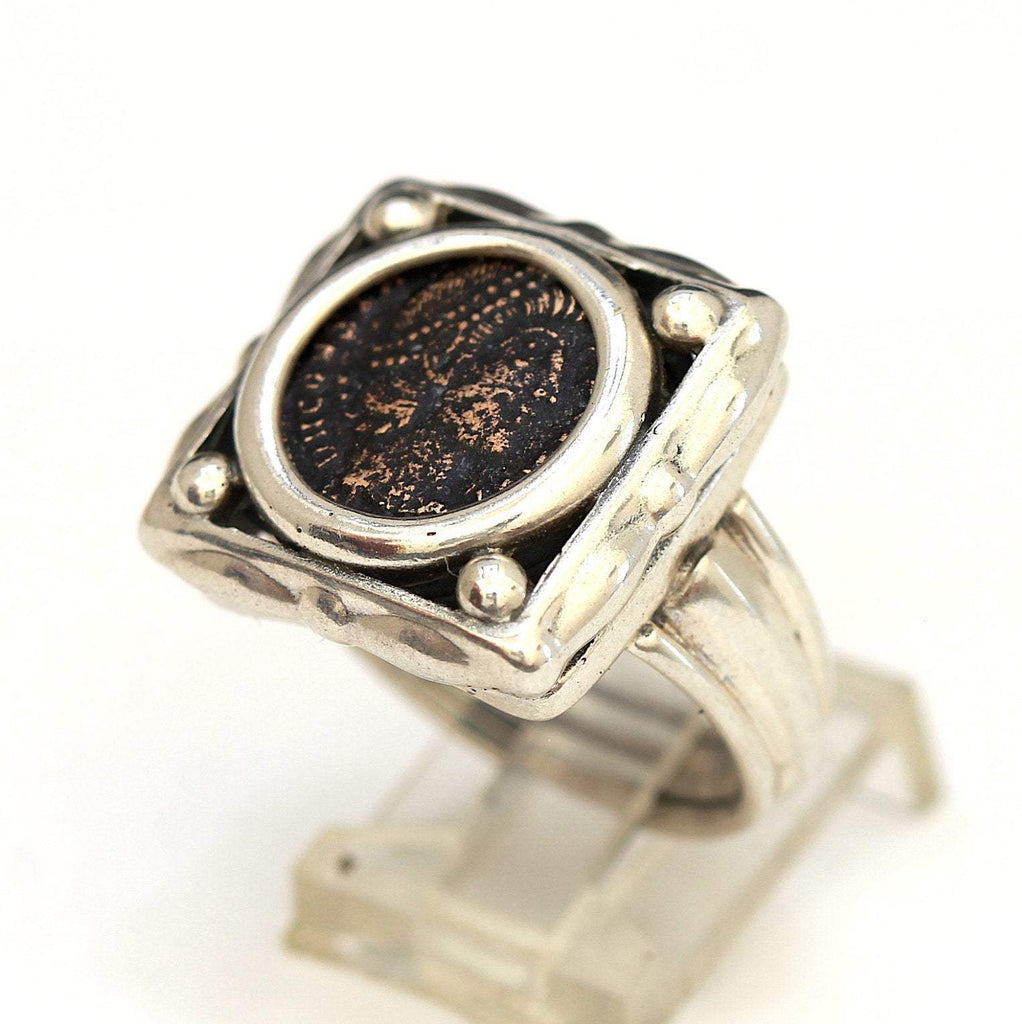 Roman Bronze Coin, Square Sterling Silver Ring, Genuine Ancient Coin, with Certificate 8084 - Erez Ancient Coin Jewelry