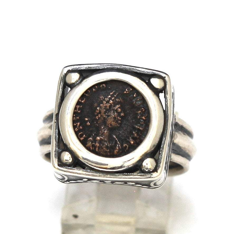 Roman Bronze Coin, Sterling Silver Ring, Genuine Ancient Coin, with Certificate 8060 - Erez Ancient Coin Jewelry