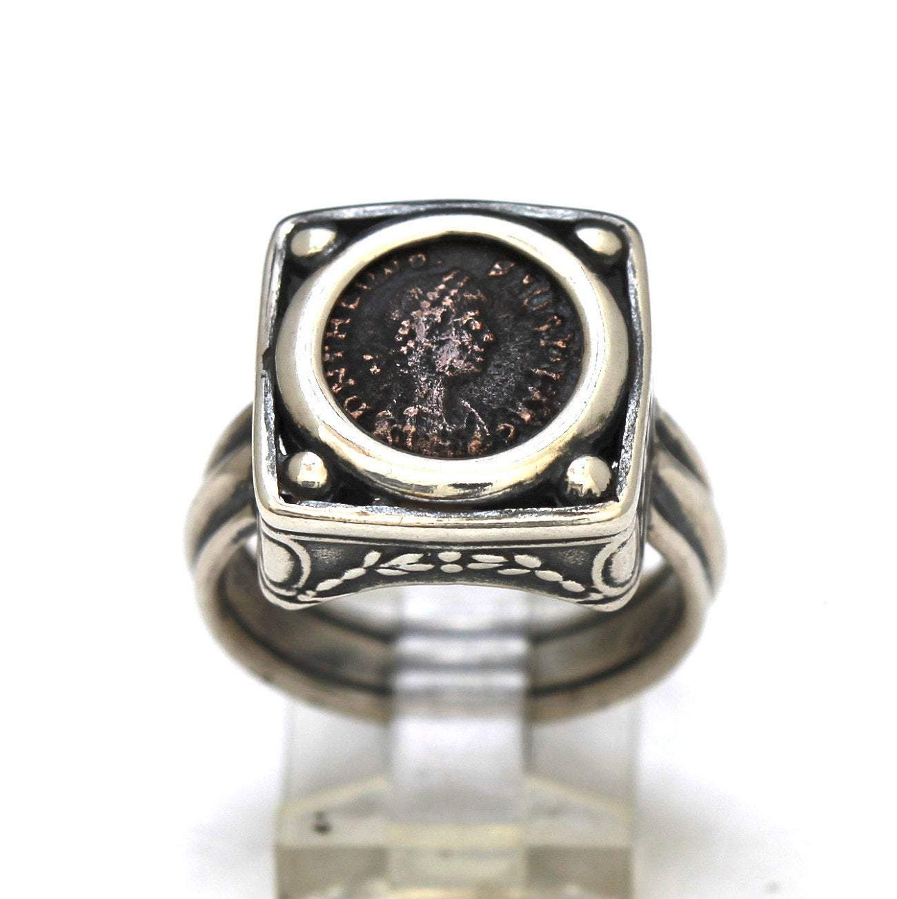 Roman Bronze Coin, Sterling Silver Ring, Genuine Ancient Coin, with Certificate 8060 - Erez Ancient Coin Jewelry, ancient coin jewelry, men jewelry, genuine ancient coins, made in the US