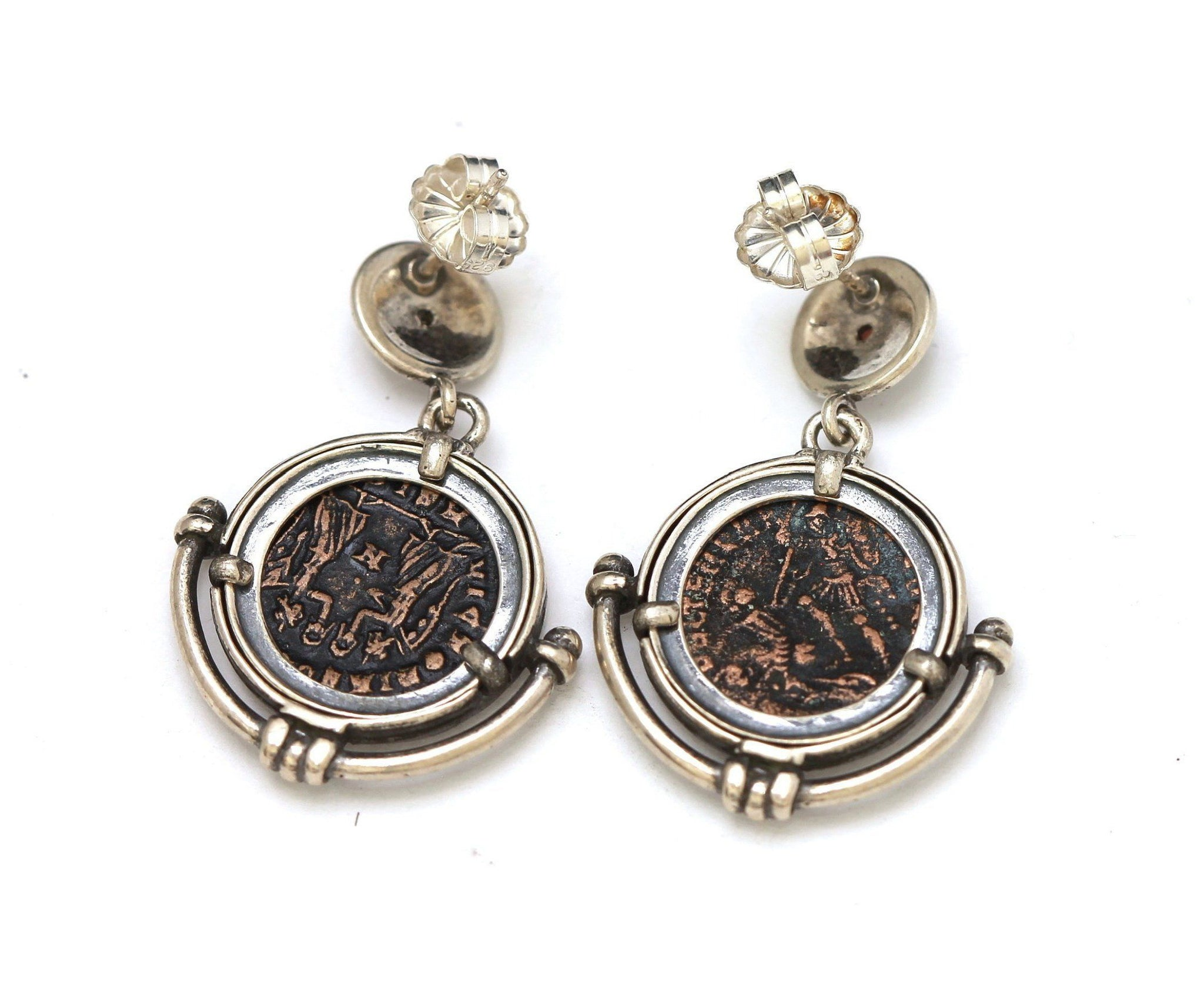 Roman Bronze Coins, Silver Earrings, Genuine Ancient Coins, With Certificate 6502 - Erez Ancient Coin Jewelry, ancient coin jewelry, men jewelry, genuine ancient coins, made in the US