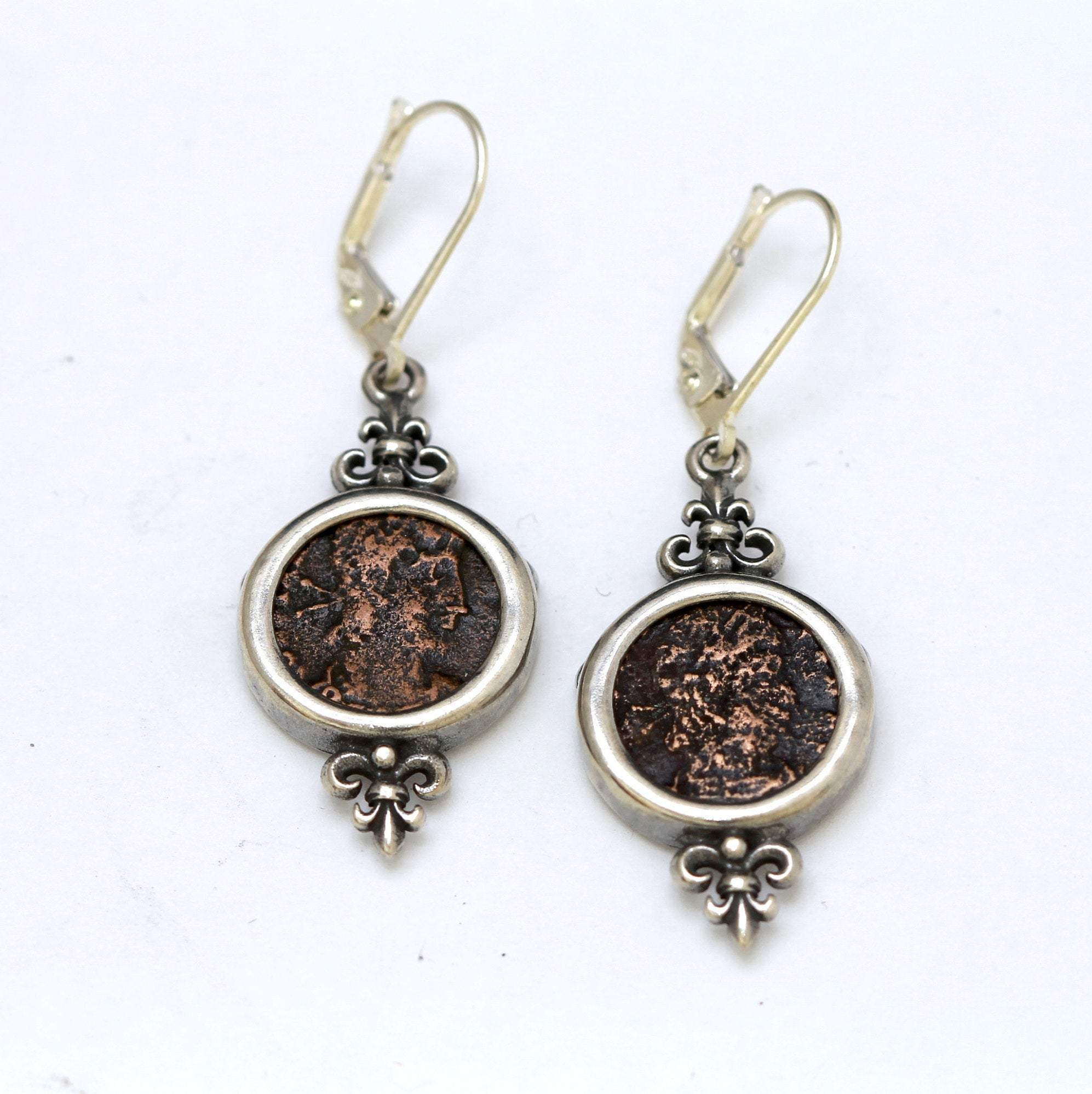 Roman Bronze Coins, Silver Earrings, Genuine Ancient Coins, With Certificate 6504 - Erez Ancient Coin Jewelry, ancient coin jewelry, men jewelry, genuine ancient coins, made in the US
