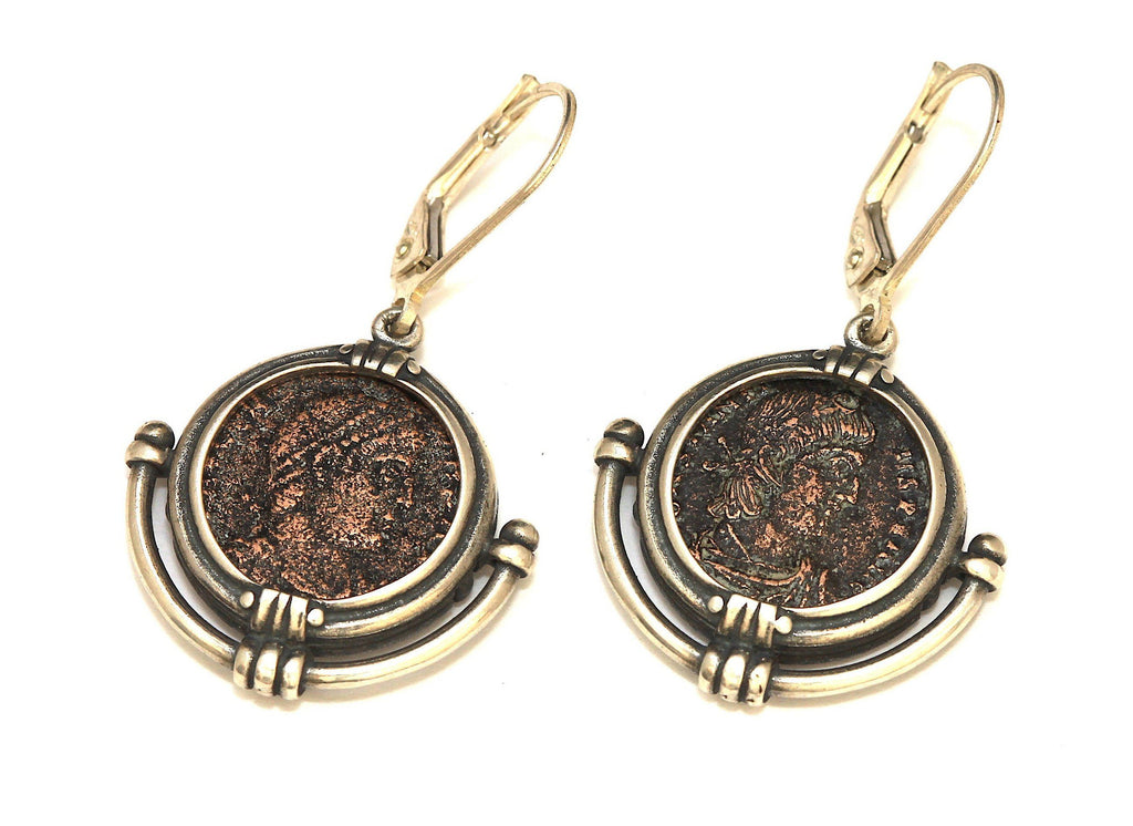 Roman Bronze Coins, Silver Earrings, Genuine Ancient Coins, with Certificate 6572 - Erez Ancient Coin Jewelry, ancient coin jewelry, men jewelry, genuine ancient coins, made in the US