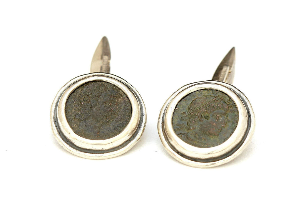 Roman Bronze Coins, Sterling Silver Cufflinks, Genuine Ancient Coins, with Certificate 6529 - Erez Ancient Coin Jewelry, ancient coin jewelry, men jewelry, genuine ancient coins, made in the US