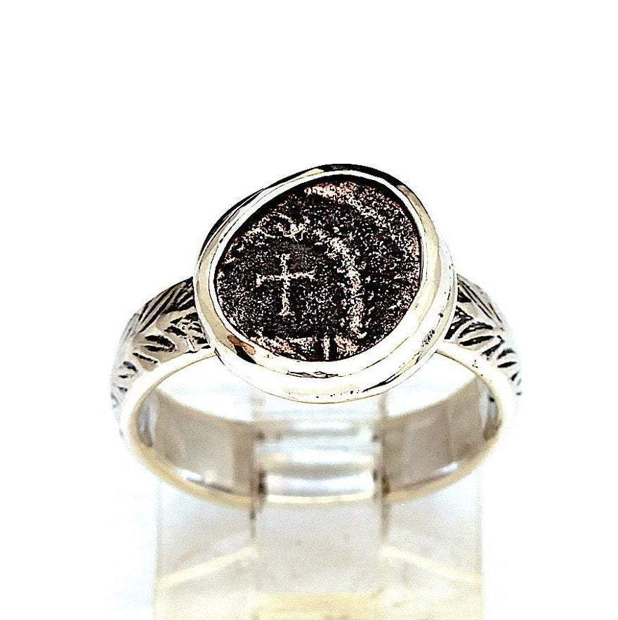 Roman Coin, Cross, Sterling Silver Ring, Genuine Ancient Coin, with Certificate  6638 - Erez Ancient Coin Jewelry, ancient coin jewelry, men jewelry, genuine ancient coins, made in the US