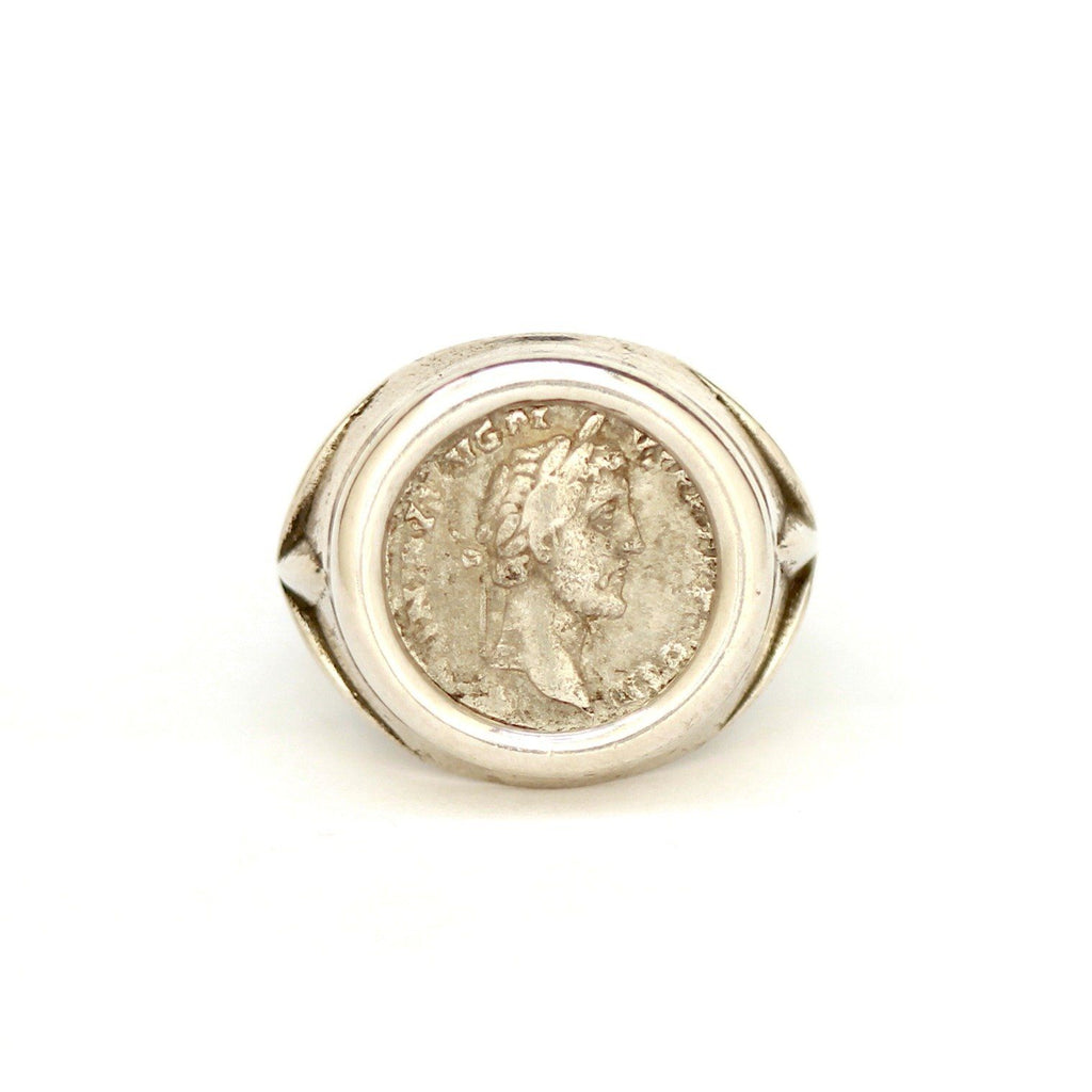 Roman Coin Ring, Antonius Pius, 2nd. Cent., Sterling Silver, Genuine Ancient Coin, with Certificate - Erez Ancient Coin Jewelry