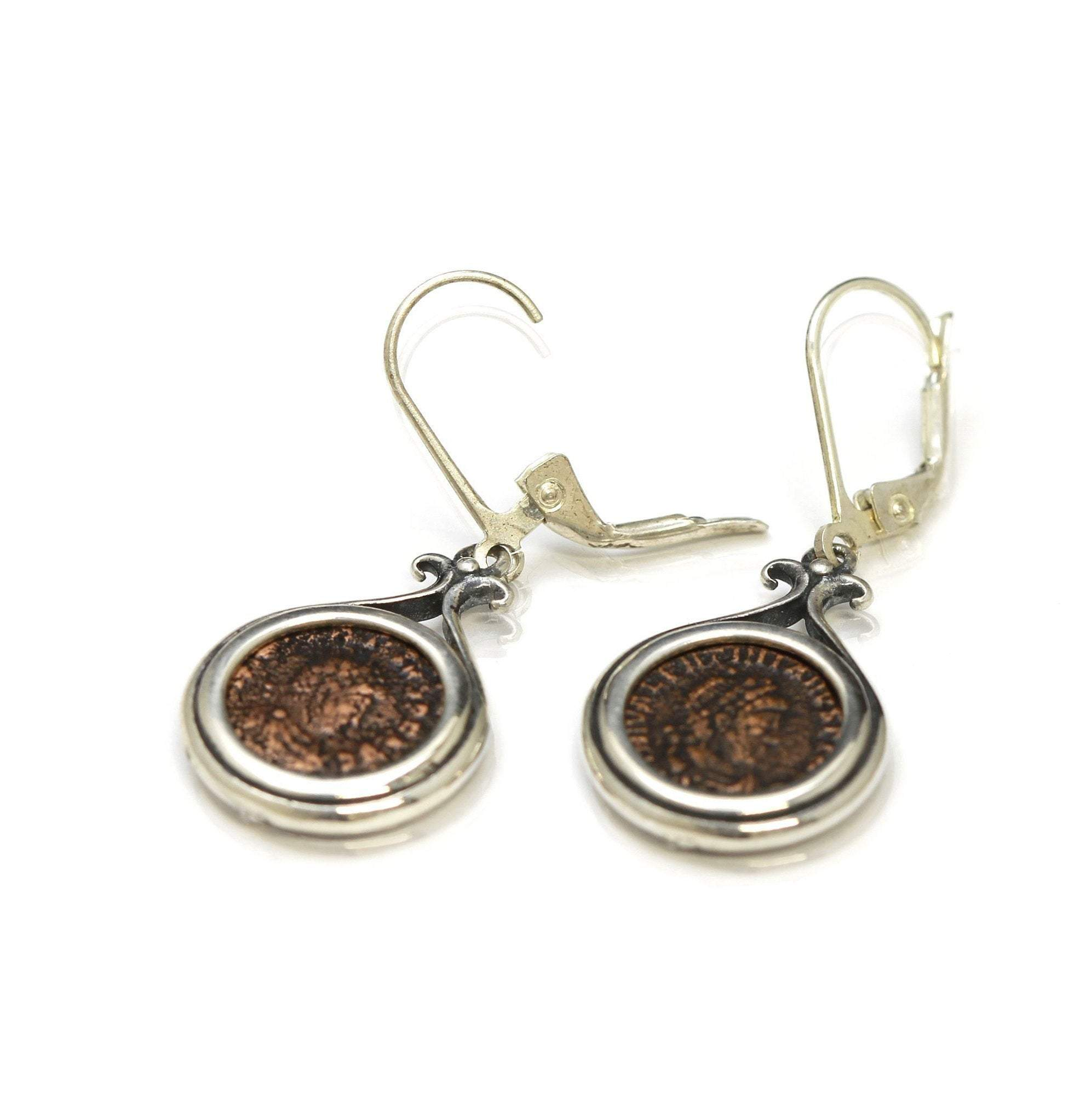 Roman Coin Silver Earrings, Genuine Ancient Coins, with Certificate 2059 - Erez Ancient Coin Jewelry, ancient coin jewelry, men jewelry, genuine ancient coins, made in the US