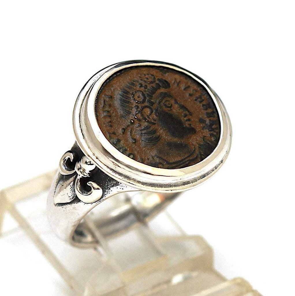 Roman Coin, Sterling Silver Ring, Genuine Ancient Coin, with Certificate  6639 - Erez Ancient Coin Jewelry, ancient coin jewelry, men jewelry, genuine ancient coins, made in the US