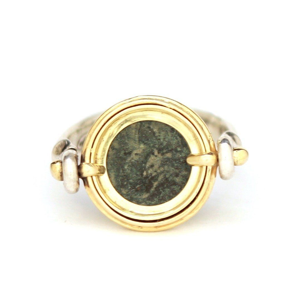 Roman Coin Swivel Ring, 14K Gold and Sterling Silver, Theodosius II Genuine Ancient Coin, with Certificate  R8-G - Erez Ancient Coin Jewelry