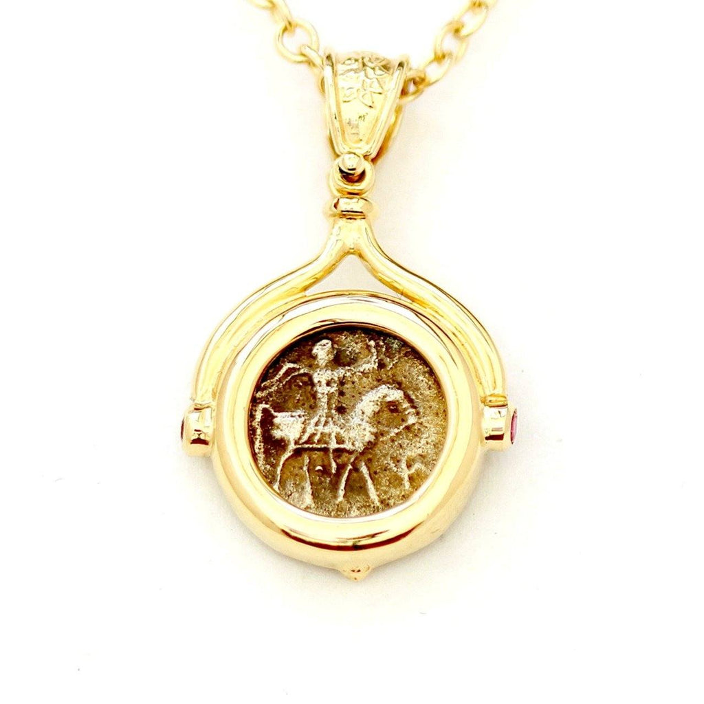 14K Gold Pendant, GF Chain Genuine Ancient Coin, with Certificate ID13146 - Erez Ancient Coin Jewelry, ancient coin jewelry, men jewelry, genuine ancient coins, made in the US