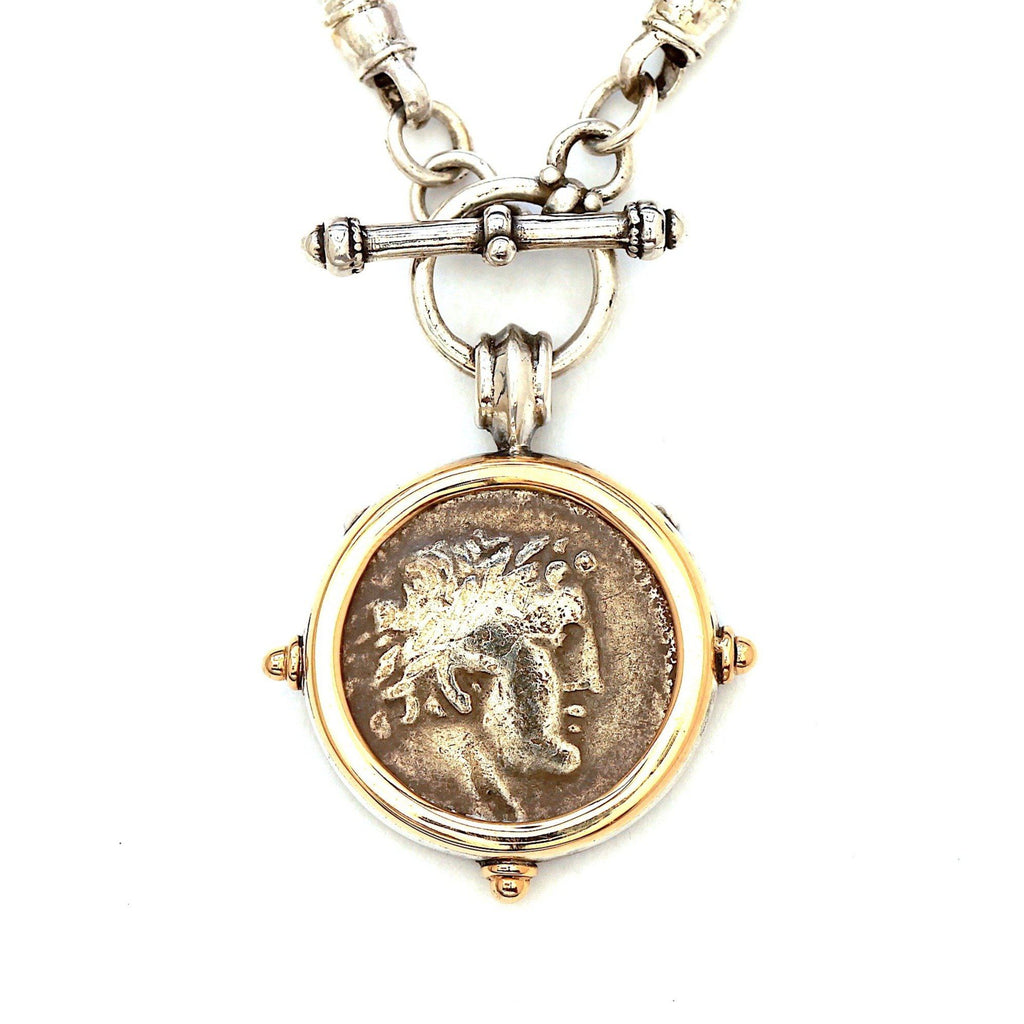 Shekel of Tire Coin Pendant, Ancient Judaea, 14K Gold/Sterling Silver Toggle Pendant, Genuine Ancient Coin, with Certificate 6524 - Erez Ancient Coin Jewelry, ancient coin jewelry, men jewelry, genuine ancient coins, made in the US