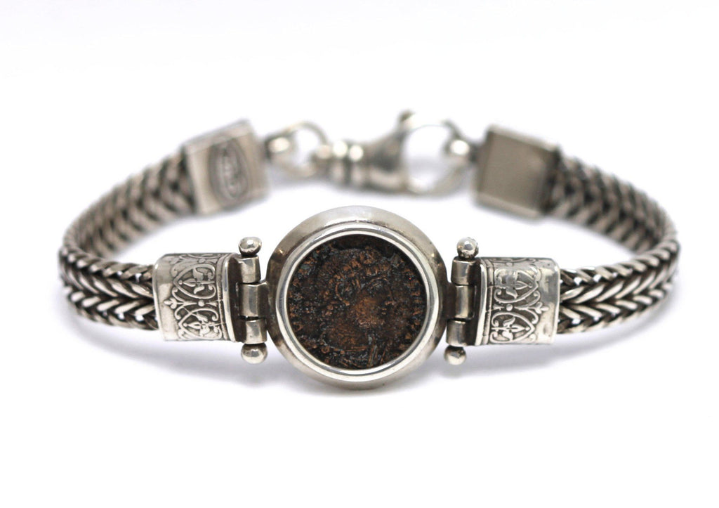 Silver Bracelet, Roman Bronze, Young Constantine the Great, 6972 - Erez Ancient Coin Jewelry