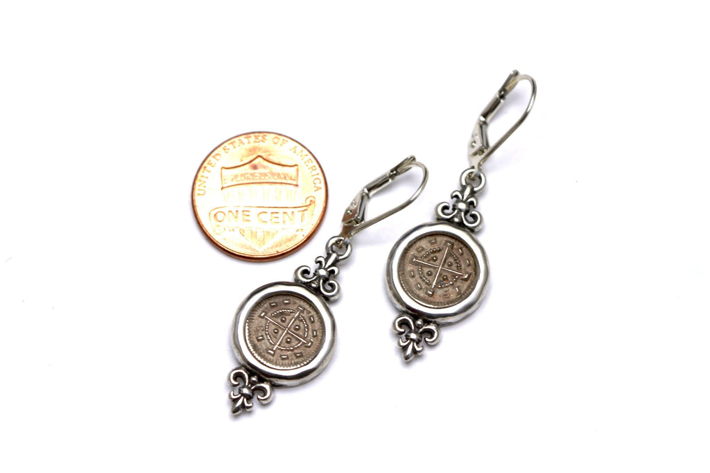 Silver Coin Earrings, Hungarian Bela II w/Cert. 6286 - Erez Ancient Coin Jewelry, ancient coin jewelry, men jewelry, genuine ancient coins, made in the US
