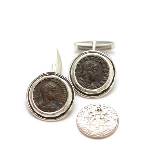 Silver Cufflinks, Constantine II Roman Bronze Coins, 6844 - Erez Ancient Coin Jewelry, ancient coin jewelry, men jewelry, genuine ancient coins, made in the US