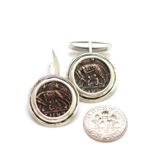 Silver Cufflinks, VRBS ROMA, Bronze Coins, 6842 - Erez Ancient Coin Jewelry, ancient coin jewelry, men jewelry, genuine ancient coins, made in the US