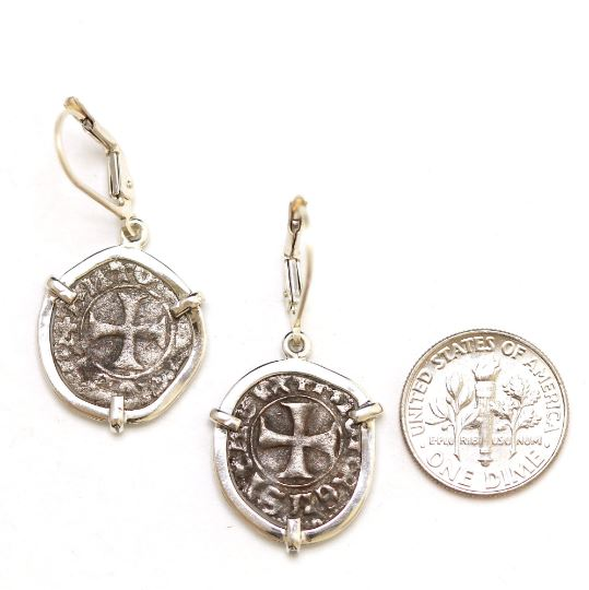 Silver Earrings, Tornesello Coins, 6930 - Erez Ancient Coin Jewelry, ancient coin jewelry, men jewelry, genuine ancient coins, made in the US