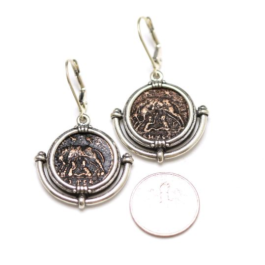 Silver Earrings, VRBS ROMA, Bronze Coins, 6855 - Erez Ancient Coin Jewelry, ancient coin jewelry, men jewelry, genuine ancient coins, made in the US