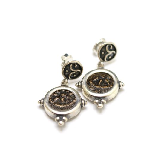 Silver Earrings, Widows Mite Coins, 6846 - Erez Ancient Coin Jewelry