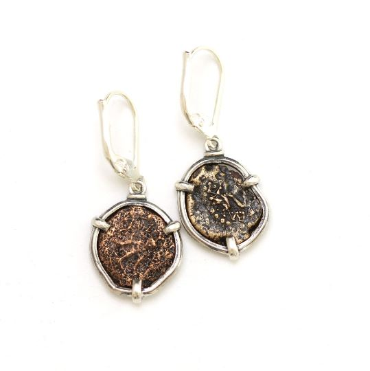 Silver Earrings, Widows Mite Coins, 6926 - Erez Ancient Coin Jewelry, ancient coin jewelry, men jewelry, genuine ancient coins, made in the US