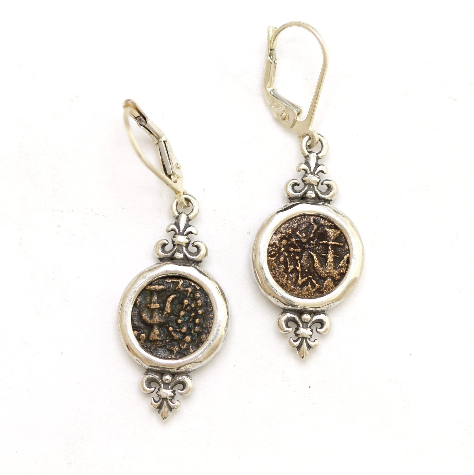 Silver Earrings, Widows Mite Coins, Anchors, 6944 - Erez Ancient Coin Jewelry, ancient coin jewelry, men jewelry, genuine ancient coins, made in the US