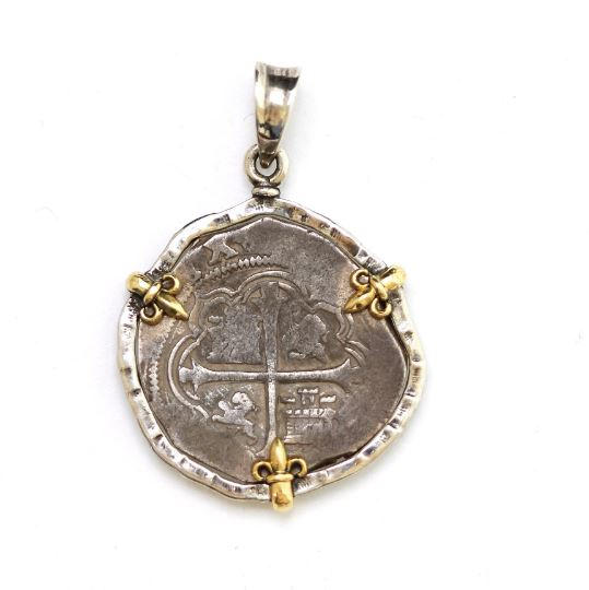 Silver Pendant, 18K Gold Prongs, Felipe IV, 2 Reale Coin, ID12761