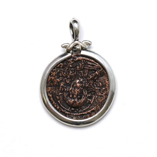 Silver Pendant, Class I Anonymous Follis Coin, 6820 - Erez Ancient Coin Jewelry