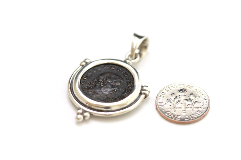 Silver Pendant, Constantine I, Roman Coin, 6874 - Erez Ancient Coin Jewelry, ancient coin jewelry, men jewelry, genuine ancient coins, made in the US
