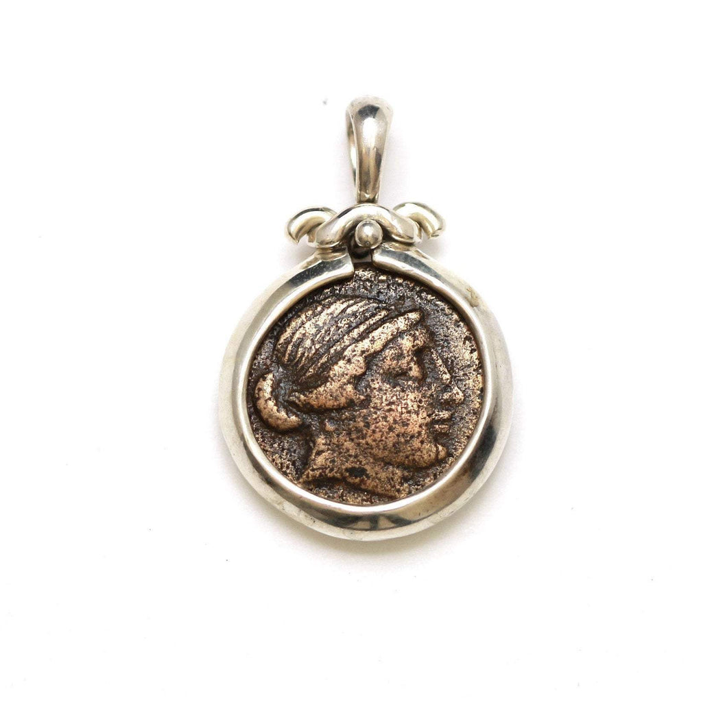Silver Pendant, Greek Horse, Kyme, Ancient Bronze Coin, 7003