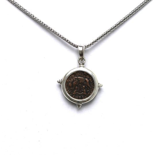 Silver Pendant, VRBS ROMA,  Ancient Roman Bronze Coin, 6822 - Erez Ancient Coin Jewelry