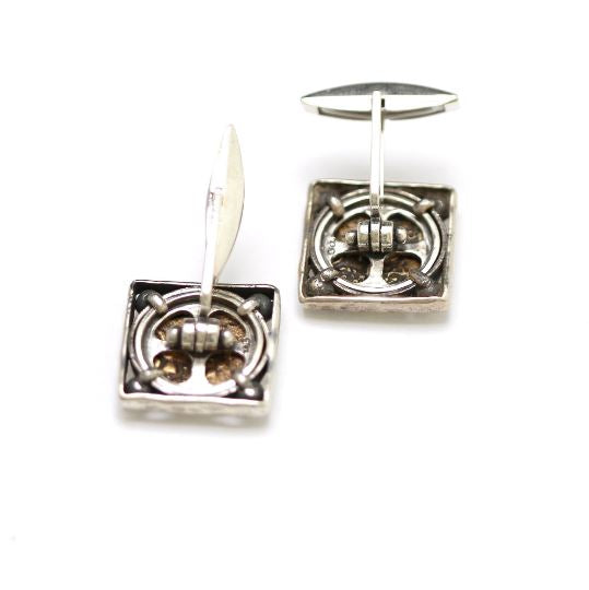 Silver Square Cufflinks, Widows Mite Coins, 6841 - Erez Ancient Coin Jewelry, ancient coin jewelry, men jewelry, genuine ancient coins, made in the US
