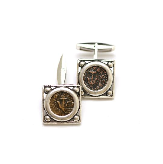 Silver Square Cufflinks, Widows Mite Coins, 6849 - Erez Ancient Coin Jewelry, ancient coin jewelry, men jewelry, genuine ancient coins, made in the US