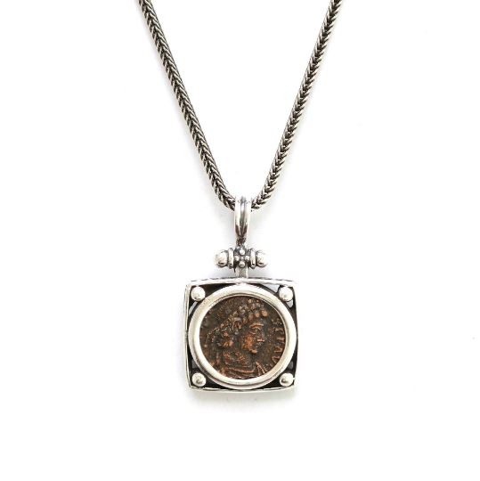 Silver Square Pendant, Roman Bronze, 6829 - Erez Ancient Coin Jewelry, ancient coin jewelry, men jewelry, genuine ancient coins, made in the US