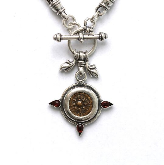 Silver Toggle Necklace, Garnets, Widows Mite, 6825 - Erez Ancient Coin Jewelry, ancient coin jewelry, men jewelry, genuine ancient coins, made in the US