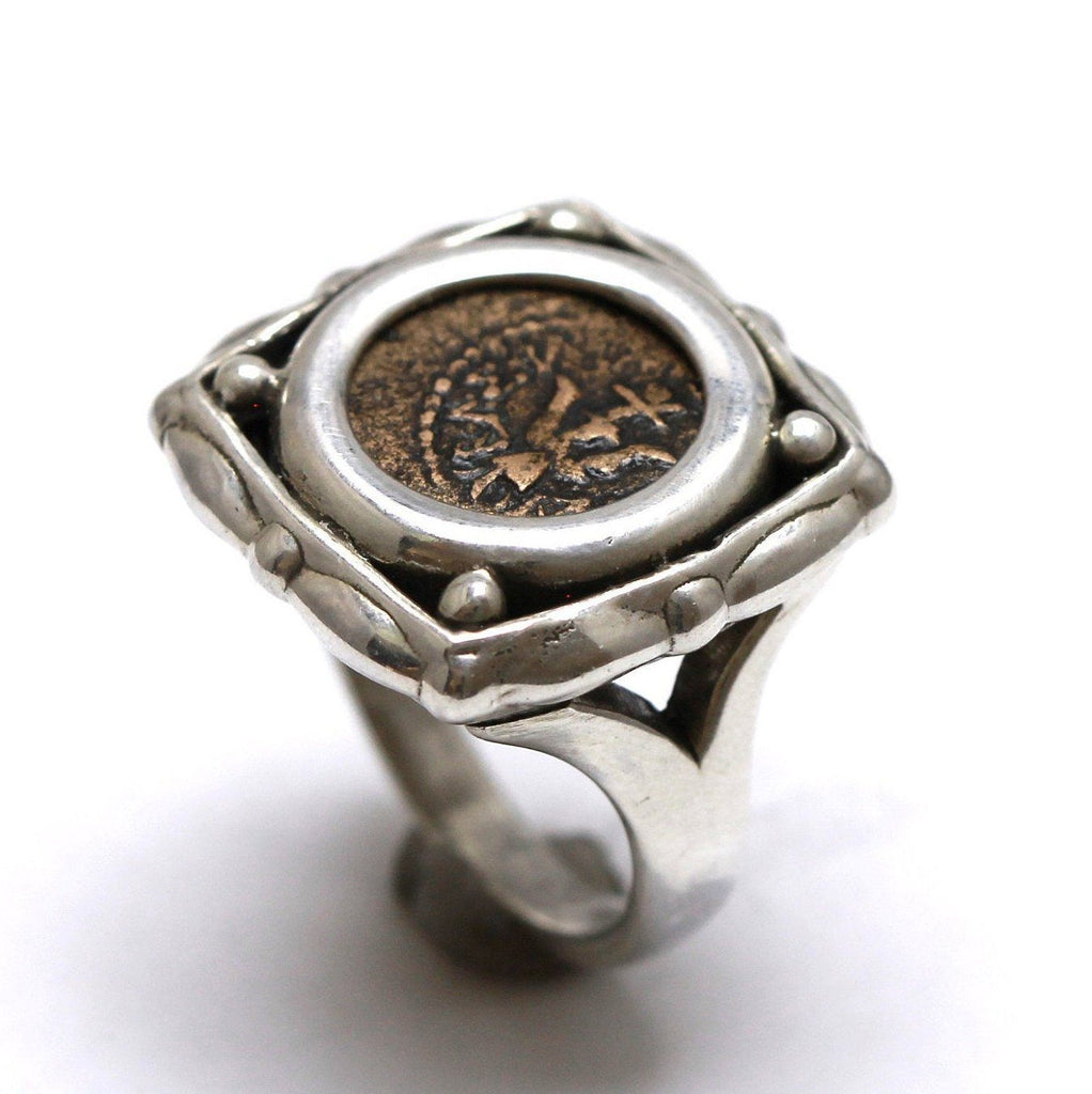 Square Sterling Silver Ring, Widows Mite, Genuine Ancient Prutah Coin, 7093