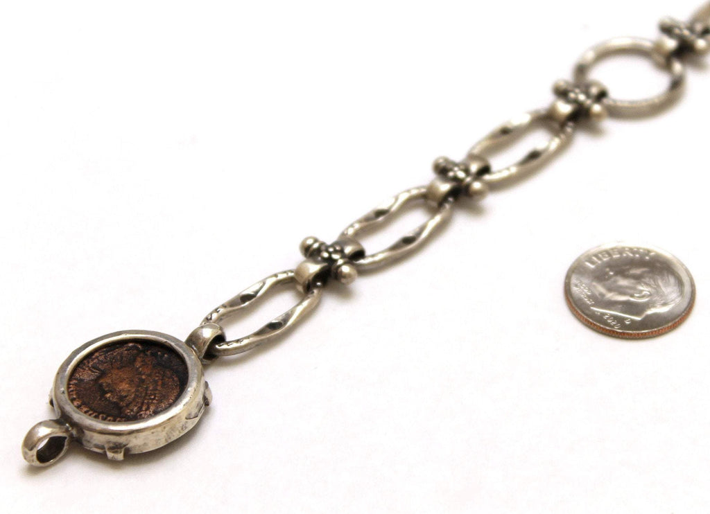 Sterling Silver Bracelet, Constantine II, Ancient Roman Bronze Coin, 7028