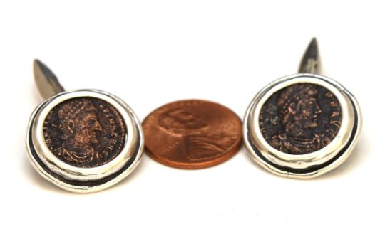 Sterling Silver Cufflinks, Genuine Roman Ancient Coins, with Certificate 6658 - Erez Ancient Coin Jewelry