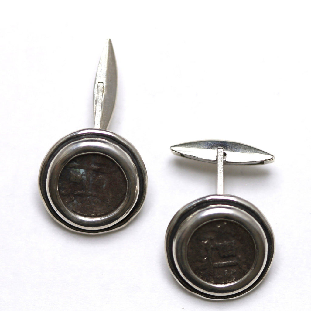 Sterling Silver Cufflinks, Half Reale, Ancient Spanish Coin, ID13386 - Erez Ancient Coin Jewelry, ancient coin jewelry, men jewelry, genuine ancient coins, made in the US