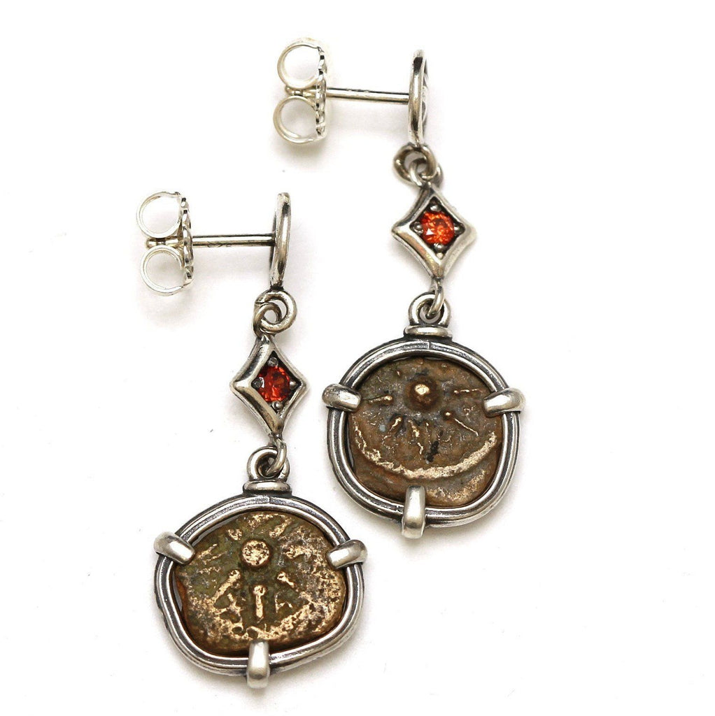 Sterling Silver Earrings, Ruby Accents, Widows Mite Prutah Coins, 7042