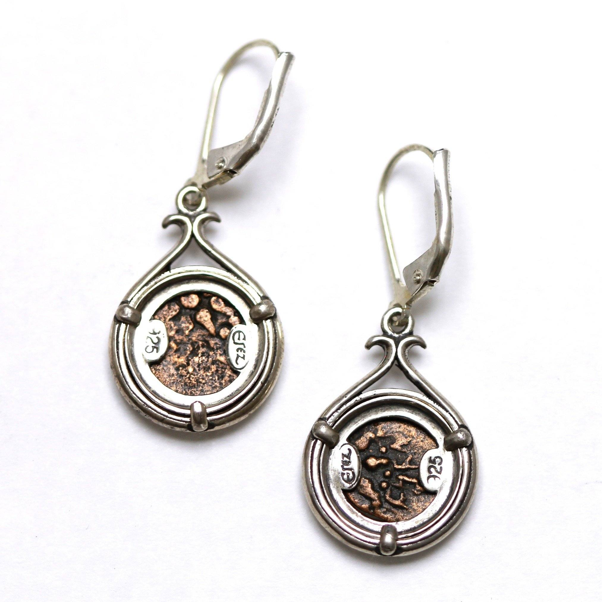 Sterling Silver Earrings, Widows Mite, Ancient Judaean Coin, ID13372 - Erez Ancient Coin Jewelry, ancient coin jewelry, men jewelry, genuine ancient coins, made in the US