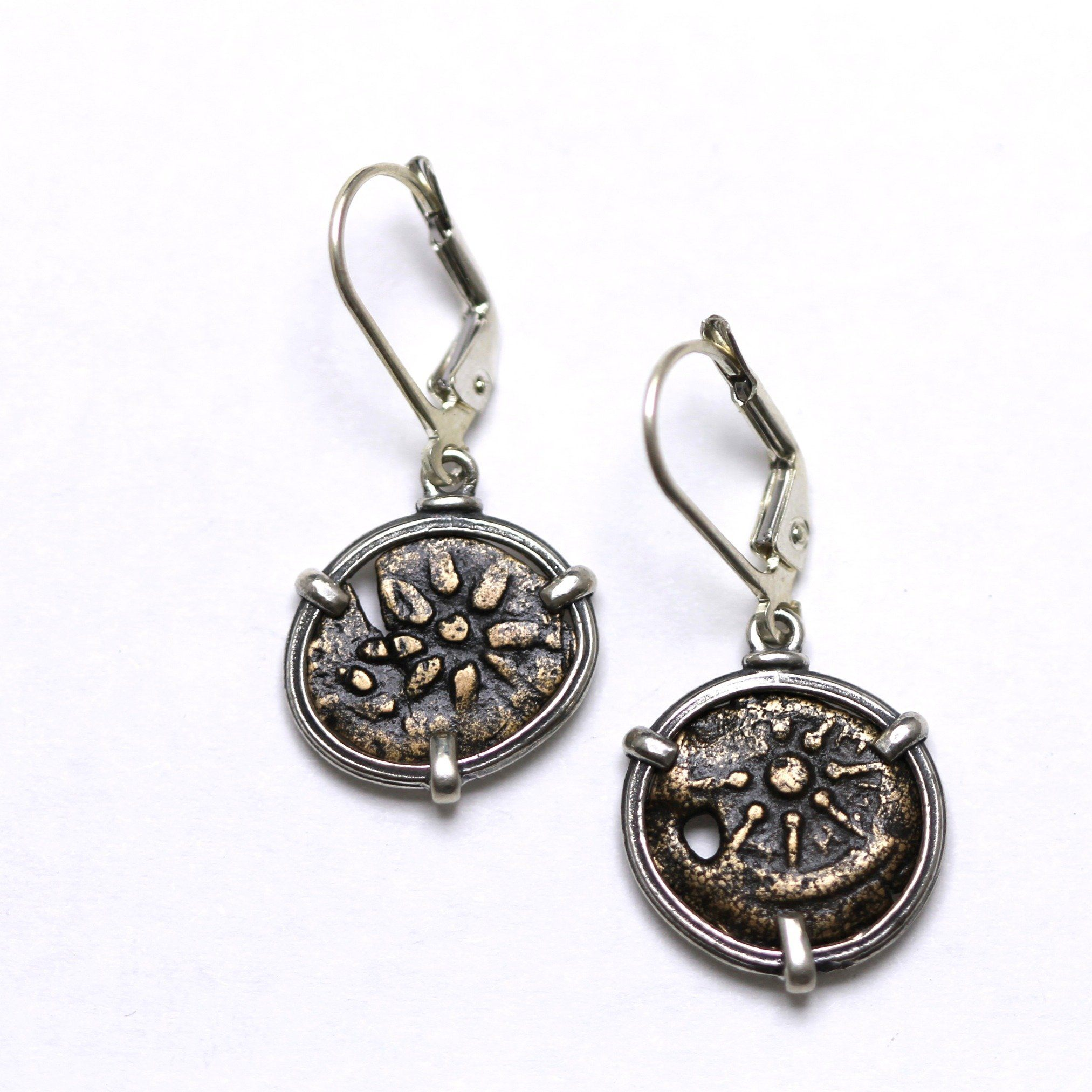 Sterling Silver Earrings, Widows Mite, Ancient Judaean Coin, 6811 - Erez Ancient Coin Jewelry, ancient coin jewelry, men jewelry, genuine ancient coins, made in the US