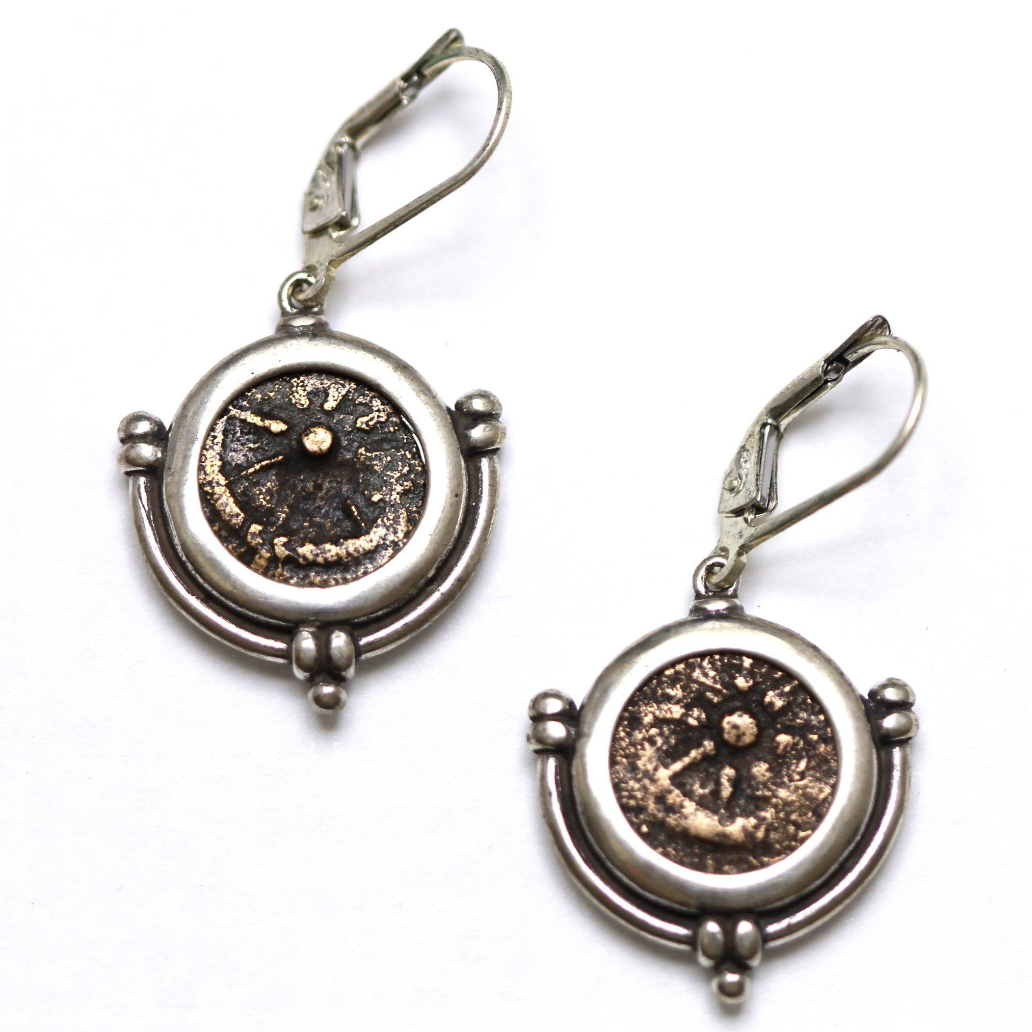 Sterling Silver Earrings, Widows Mite, Ancient Judaean Coins, ID13371 - Erez Ancient Coin Jewelry, ancient coin jewelry, men jewelry, genuine ancient coins, made in the US