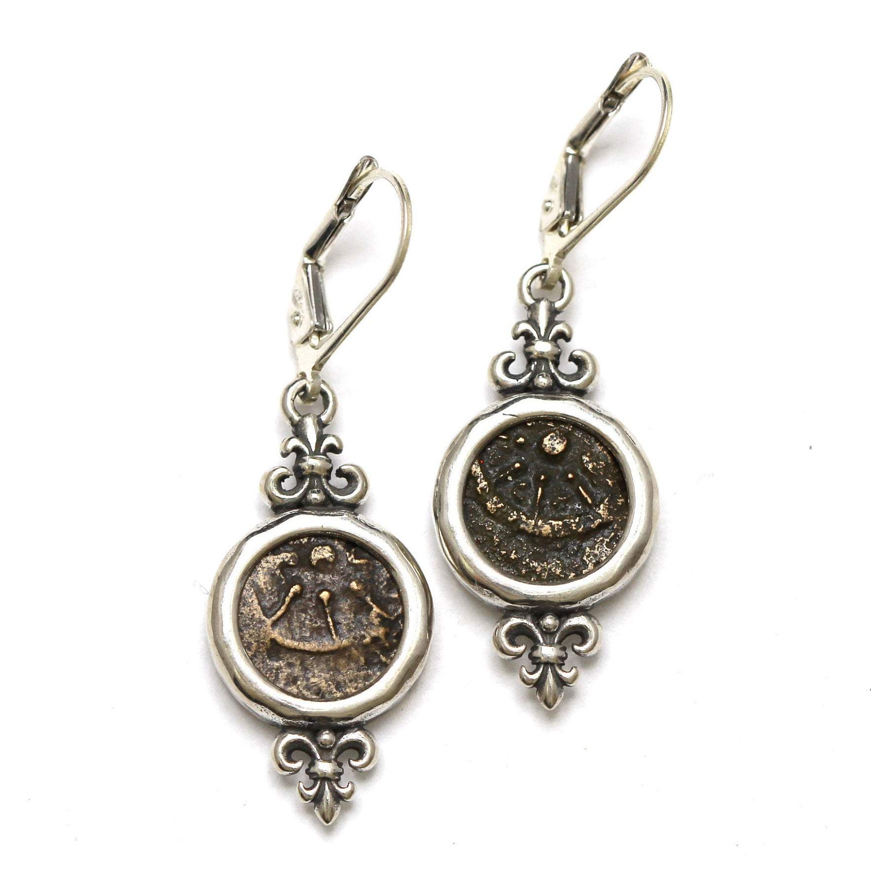 Sterling Silver Earrings, Widows Mite Prutah Coins, 7040