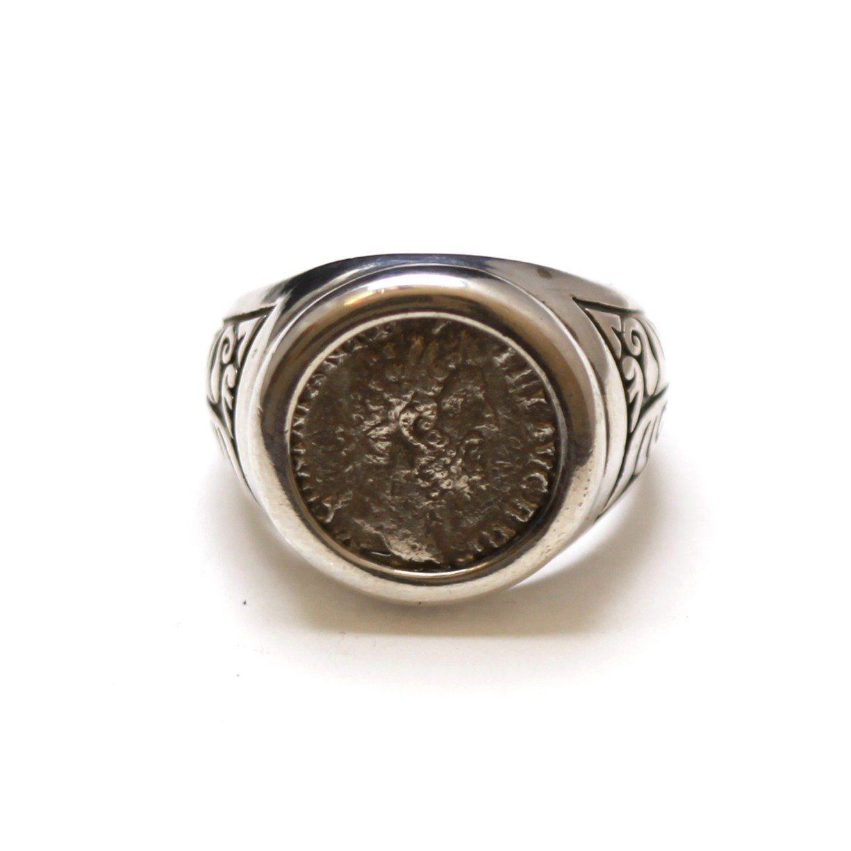Sterling Silver Engraved Ring, Commodus, Ancient Roman Denarius Coin, ID13360 - Erez Ancient Coin Jewelry