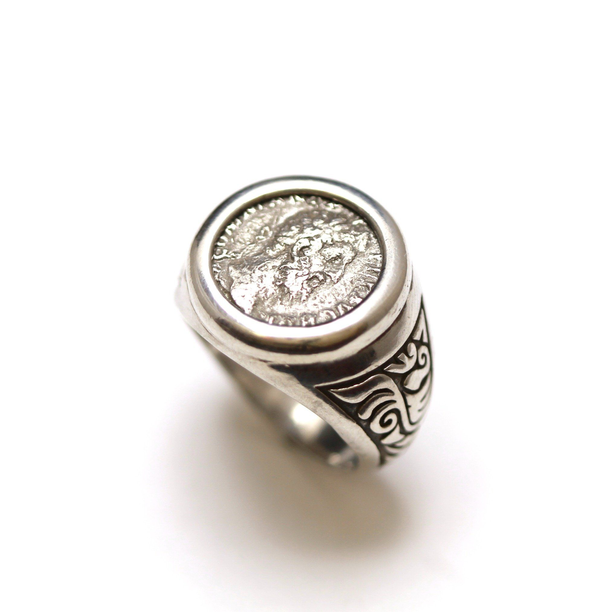 Sterling Silver Engraved Ring, Commodus, Ancient Roman Denarius Coin, ID13360 - Erez Ancient Coin Jewelry, ancient coin jewelry, men jewelry, genuine ancient coins, made in the US