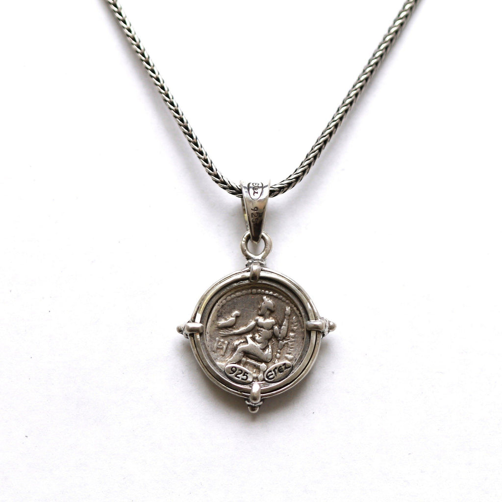 Sterling Silver Pendant, Alexander the Great, Ancient Greek Drachm Coin, ID13049 - Erez Ancient Coin Jewelry