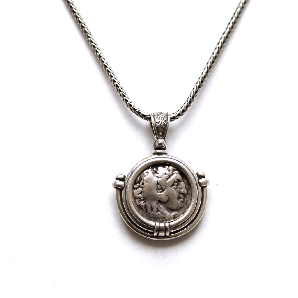 Sterling Silver Pendant, Alexander the Great, Ancient Greek Drachm Coin, ID13088 - Erez Ancient Coin Jewelry