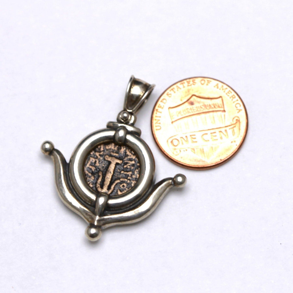 Sterling Silver Pendant, Anchor of Christ Coin,  w/Cert.  5189 - Erez Ancient Coin Jewelry, ancient coin jewelry, men jewelry, genuine ancient coins, made in the US