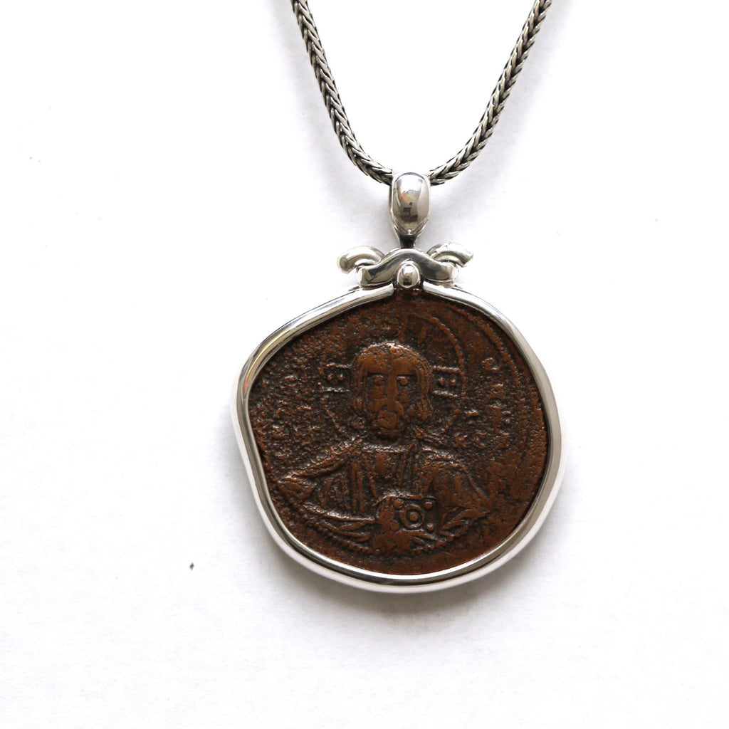 Sterling Silver Pendant, Anonymous Folles, Jesus Christ Portrait, Ancient Coin Jewelry, 6802 - Erez Ancient Coin Jewelry, ancient coin jewelry, men jewelry, genuine ancient coins, made in the US
